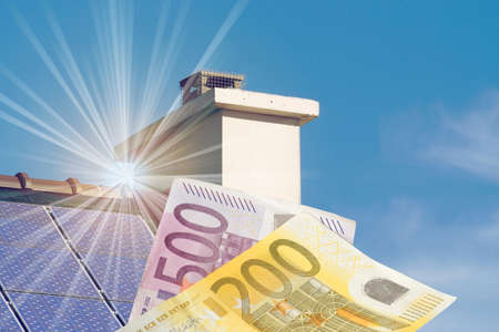 A house with solar system and Euro banknotes