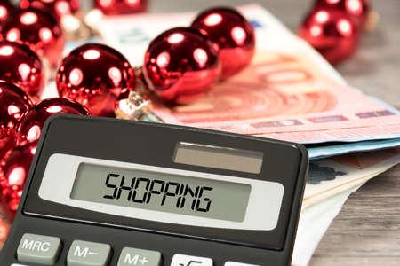 Euro banknotes, Christmas and shopping 写真素材