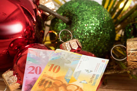 Christmas and banknotes Swiss francs