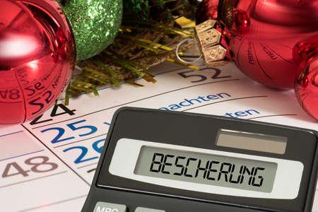 Christmas, calendar, calculator and the bauble