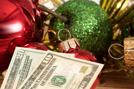 Christmas and dollar banknotes