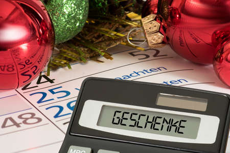 Christmas, calendar, calculator and purchase of gifts
