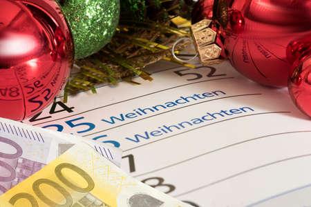 Christmas, calendar and euro money 写真素材