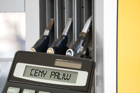 A gas station, calculator and fuel prices in Poland Stock Photo