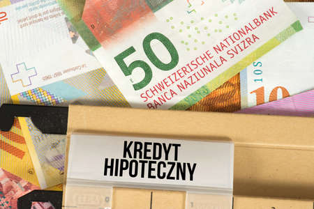 Money Swiss franc and Polish word for mortgage loan in Poland
