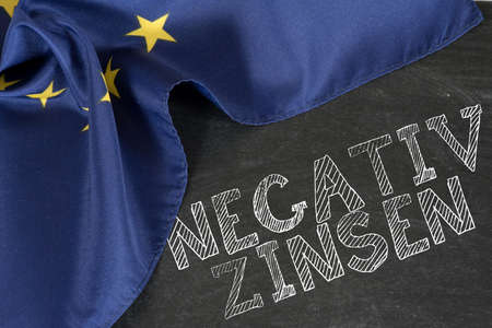 Flag of the European Union EU and negative interest rates in Europe