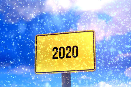 Snow and a sign 2020