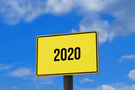A sign indicates year 2020