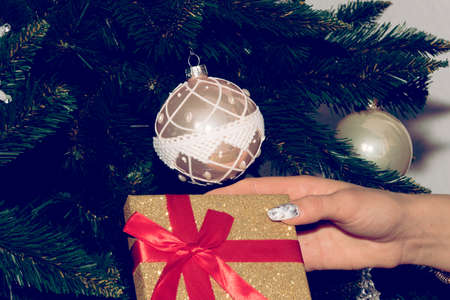 A woman, Christmas tree and a Christmas present