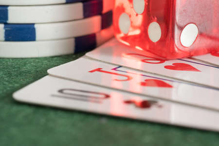 Cards, chips and dice in a casino
