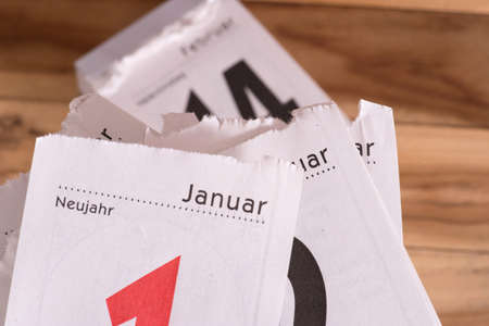 A calendar, January and New Year