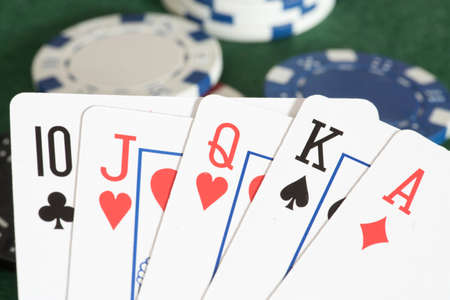 Cards and chips in a casino Imagens