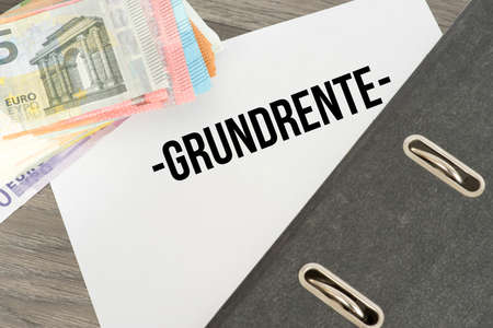 Euro banknotes and a document called ground rent Stock Photo