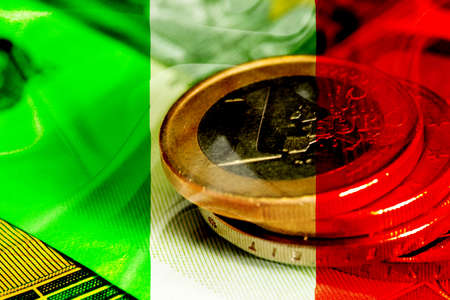 Flag of Italy and Euro coins