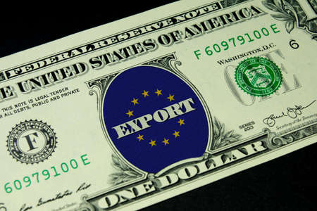 Dollar money, export and flag of the European Union EU Stock Photo