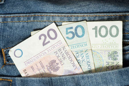 Banknotes Polish zloty PLN in trouser pocket