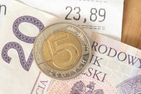 A receipt and money Polish zloty PLN