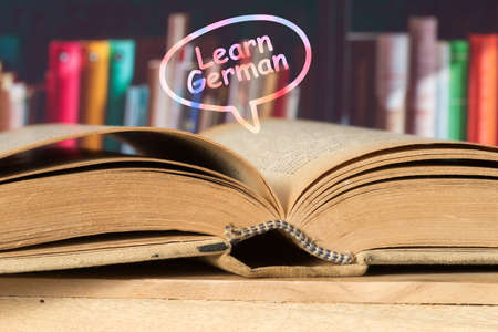 A book and slogan Learn German