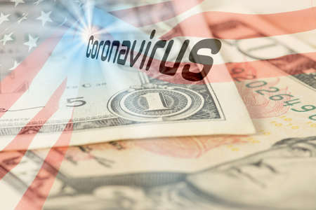 Flag of USA, dollar bill and corona virus
