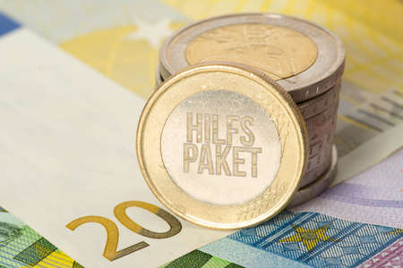 Euro banknotes and coins and aid package for the economy