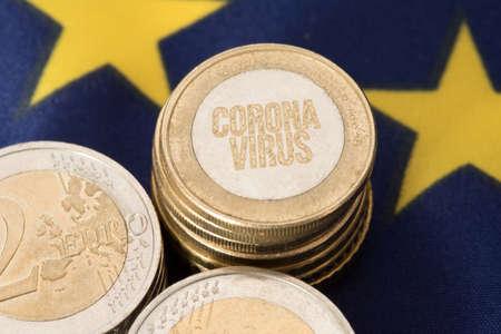 European Union flag, euro coins and corona virus