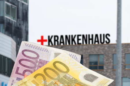 A hospital and euro banknotes
