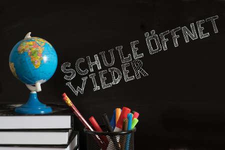 School, blackboard and note School Opens Again