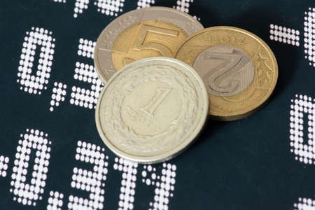 Coins Polish zloty PLN and stock exchange in Poland