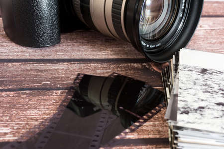 An old camera and photos