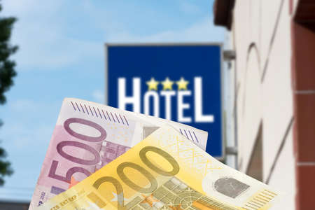 A hotel and euro banknotes Standard-Bild