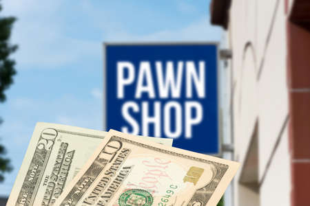 A pawnshop in America and dollar banknotes