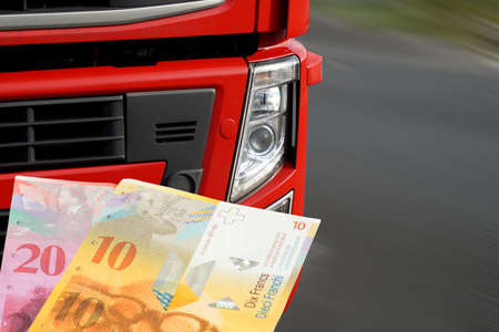 A truck and money Swiss francs