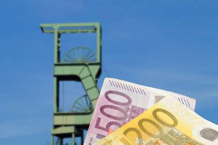 Mine and euro banknotes Standard-Bild