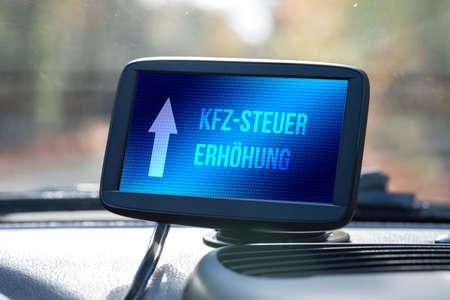 Navi in the car indicates car tax increase Standard-Bild