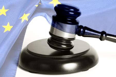 A judge gavel and European Union flag Stock Photo