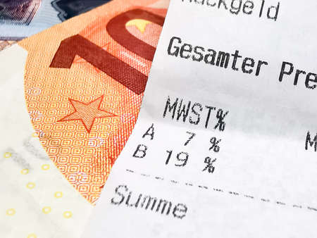 Euro banknotes, VAT and receipt