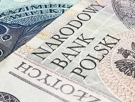 Close up of money Polish zloty PLN Imagens