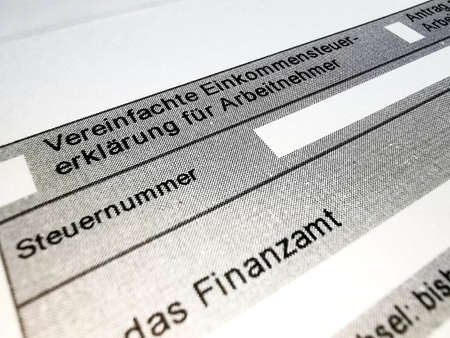 Close up form of income tax return
