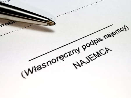Lease agreement in Polish and tenant signature