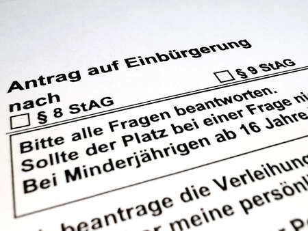 Close up application for naturalization in Germany Archivio Fotografico