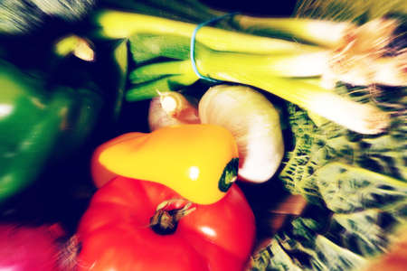 Different vegetables on the table in the kitchen