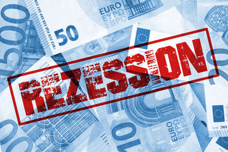 Euro banknotes and recession stamp