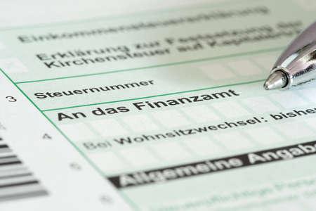 Close up tax return form