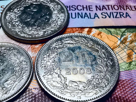 Coins and banknotes Swiss Francs CHF