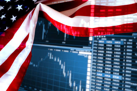 Flag of America and price board on the stock exchange