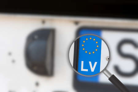 A license plate from Latvia LV