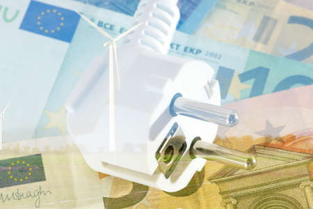 An electric plug and euro banknote