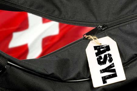 Asylum in Switzerland and a bag Banco de Imagens
