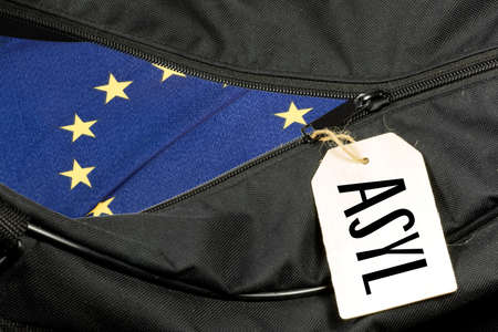 A bag, flag of the EU and asylum in Europe