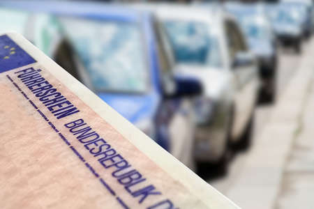 Cars and German driver's license Stock Photo